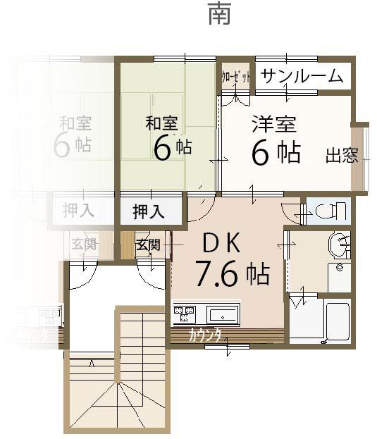 2DK(DK7.6帖)(間取)